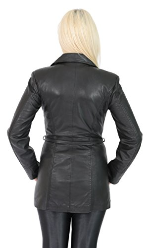 Fit piel cintur de con mujer para negro Chaqueta Slim RqtS85nvv
