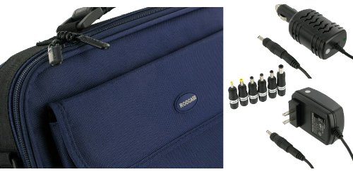 rooCase 3n1 Combo - Packard Bell 11.6-Inch Dot M Netbook Carrying Bag Case with 12v Car and AC Adapter Wall Charger - Dark Blue / Black Classic Series