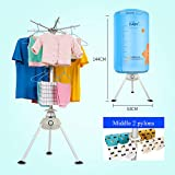 UNA Portable Clothes Dryer Electric Energy Saving Ventless Round Shape Blue Intelligent Clothes Dryer Automatic Timer 2-4 Hours