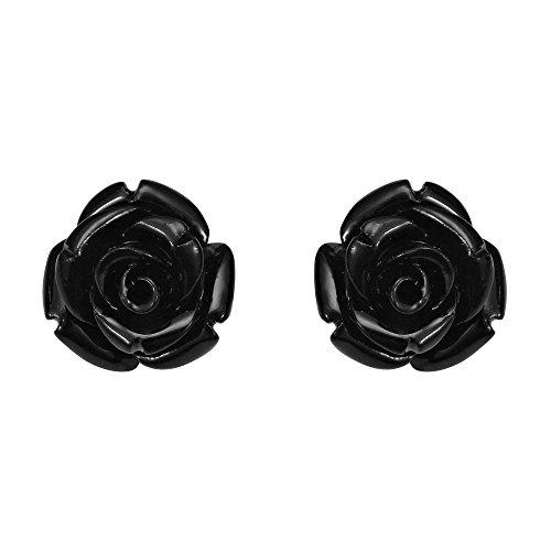 (Pretty Blooming Carved Black Rose .925 Sterling Silver Stud Earrings )