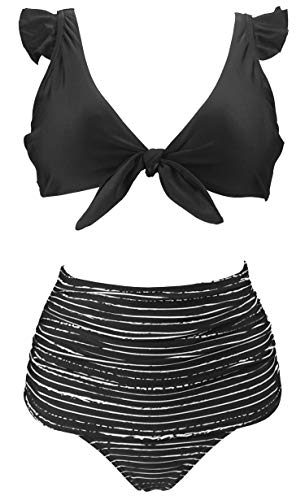 COCOSHIP Black Striped & White Balancing Act High Waist Ruched Bikini Set Tie Front Closure Top Ruffle Straps Bathing Suit 14