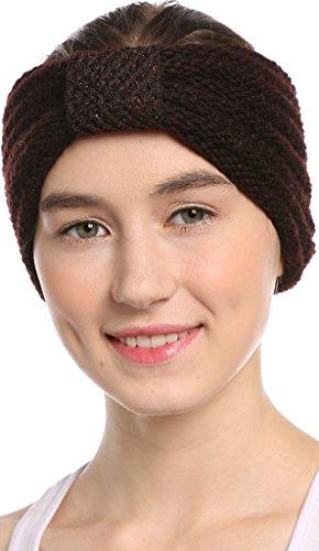 Women Head Wrap Soft Hair Band Lady Rhinestone Headwear Turban Twist Headband (Coffee) - 9