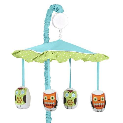Sweet Jojo Designs Turquoise and Lime Hooty Owl Musical Baby Crib Mobile
