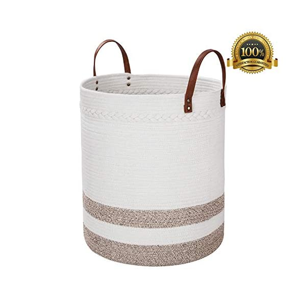 "Amiglo Cotton Rope Basket 18"" x 16"" Extra Large Decorative Woven Storage Basket for Baby Toys, Towels, Pillows, Blanket, Sofa Throws, Comforter Cushions Nursery Bin Laundry Hamper with Leather Handle"