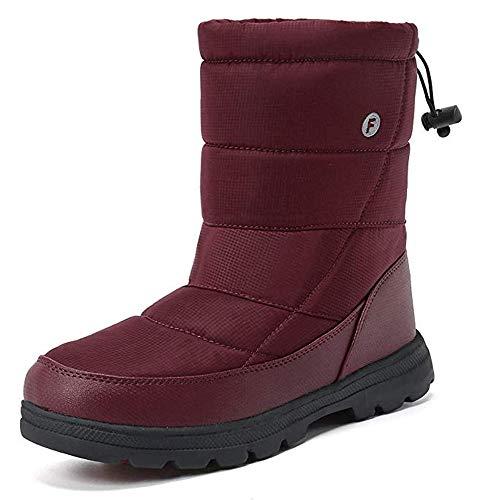 SILENTCARE Mens Winter Mid-Calf Snow Boot Fur Warm Waterproof Slip On Outdoor Athletic (Wine, 10 M Women/8 M Men)