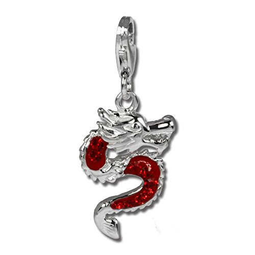 SilberDream Glitter Charm dragon with red Czech crystals 925 Sterling Silver Charms Pendant for Charms Bracelet, Necklace or Earring GSC524R by SilberDream Crystal