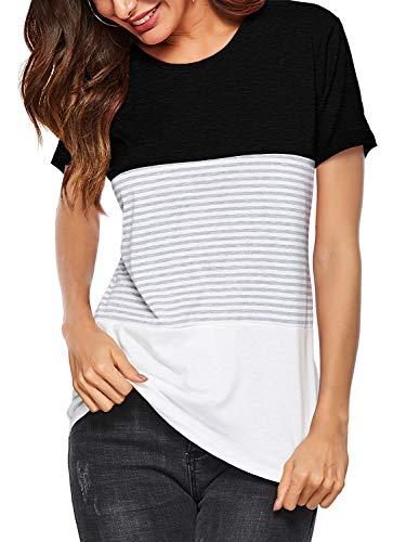 Amoretu Women's Summer T-Shirt Striped Short Sleeve Tunic Tops Blouse Black S