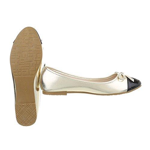 Ital-Design Women's Ballet Flats Block Heel Classic Ballet Flats at Gold Black Gaq-10 TSMR7
