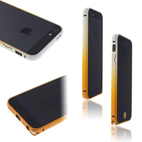 Orange Gradient Frames - Waterwood Stylish Ultra-Thin ALL-Metal Phone Bumper Bezel Frame for iPhone5/5S- Orange Gradient