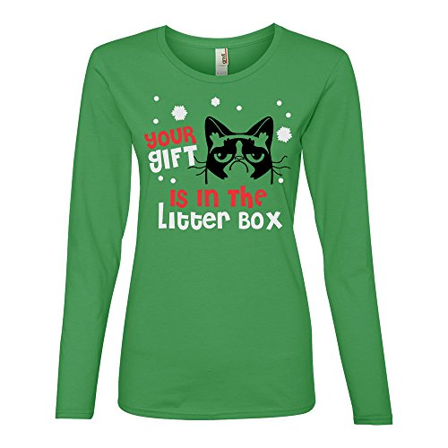 "Price comparison product image Grumpy Cat ""Your Gift Is In The Litter Box"" Christmas Holiday Shirt-Green-L"