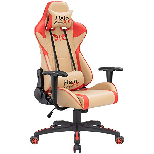 JUMMICO Gaming Chair Girl Series Height Adjustable Racing Chair Specialty Design Comfortable Ergonomic Computer Swivel Chair with Headrest and Lumbar Support (Light Brown) Uncategorized