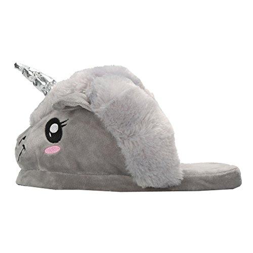 Halloween Peluche Di Grigio Magico adulto Unicorno Cosplay Unisex Pantofole Festa Regali Animali Taglia RqfXXx