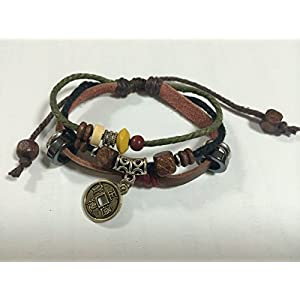 Chinese Ancient Coin Zen Bracelet Leather Bracelet Wristband