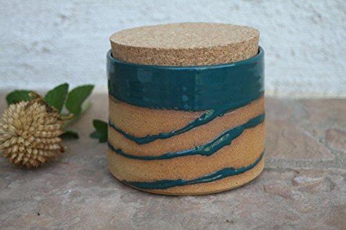 Teal Kitchen Canister handmade ceramic lidded jar