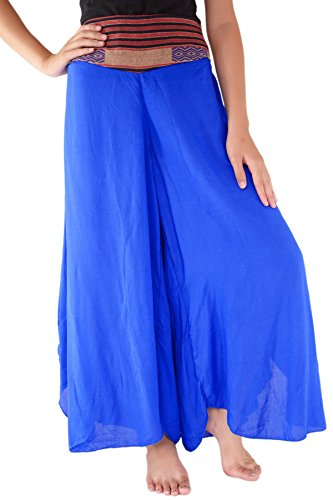 Cotton Silk Trousers - Your Cozy Palazzo Trousers Cotton Silk Womens Comfy Chic Palazzo Lounge Pant Blue