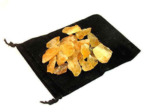 ZentronTM Crystal Collection: Citrine Rough Bulk Stones and Velvet Pouch (1/2 Pound)