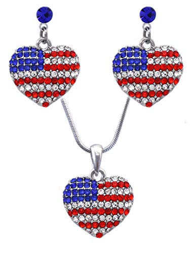 cocojewelry USA US American Flag Patriotic Red Blue Heart Earrings Jewelry (Royal Blue Dot Set)