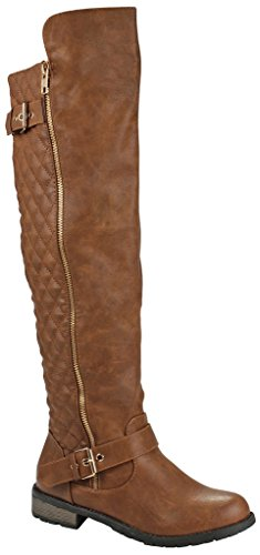 Knee Womens Boots - Mango-41 Tan Dual Gold Decorative Zipper/Buckle Quilted Motorcycle Riding Knee High Boots-9