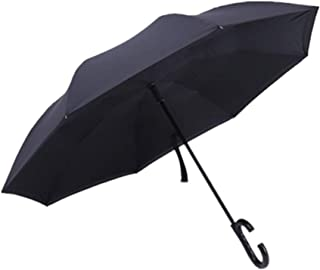 Ombrello rovesciato con maniglia a C e tote bag - Protezione UV rovesciata Protezione antivento unica, il doppio strato pieghevole è adatto per auto e per uso esterno. (BLU)
