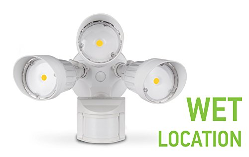 ASD LED Security Light 30W, 3 Head with 150° Motion and PC, Commercial Grade, 5000K (Daylight), DLC Standard, White