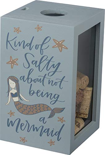 Primitives by Kathy Mermaid Wine Cork Wooden Wine Cork Holder Featuring Hand Lettered Sentiment and Mermaid and Starfish Designs with Metallic Accents (Wooden Holder Wine Cork)