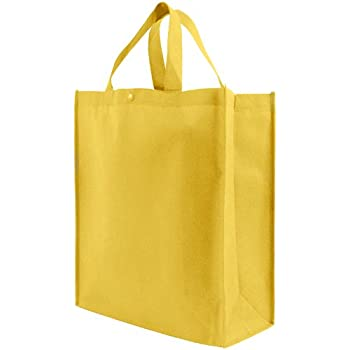 Amazon.com: Reusable Grocery Tote Bag Large 10 Pack - Yellow ...