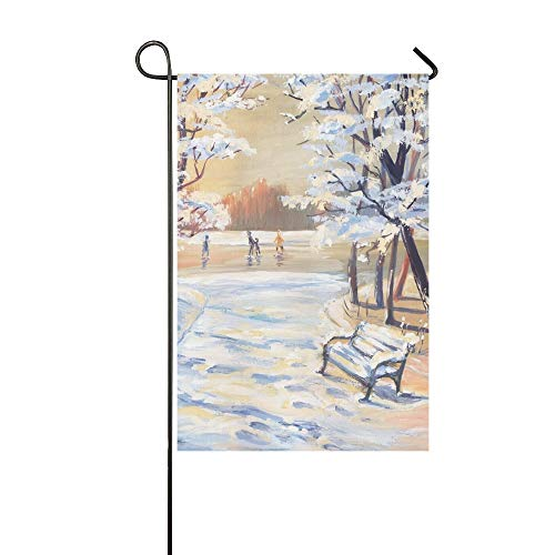 Home Decorative Outdoor Double Sided Gouache Painting Winter Landscape Snowy Trees Garden Flag,House Yard Flag,Garden Yard Decorations,Seasonal Welcome Outdoor Flag 12 X 18 Inch Spring Summer Gift