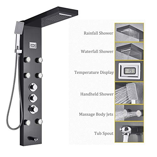 Rozin Thermostatic Rain Waterfall Shower Panel Set Tub Spout + Massage Body Jets + Handheld Spray Ti-Black Finish