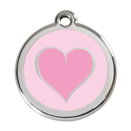 Red Dingo Custom Engraved Stainless Steel and Enamel Dog ID Tag - Two Tone Heart (Pink, Medium)