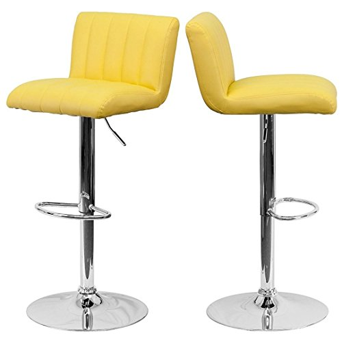 Contemporary Bar Stool Vertical Line Design Hydraulic Adjustable Height 360-Degree Swivel Seat Sturdy Steel Frame Chrome Base Dining Chair Bar Pub Stool Home Office Furniture - Set of 2 Yellow #1983