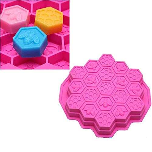 Maikouhai 1 Pcs Cake Mold, Silicone 19 Cell Bee Honeycomb Cake Chocolate Soap Candle Bakeware Mold Mould, Taste Delicious Cakes You Made