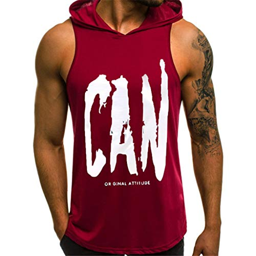 iHPH7 Men's Workout Hooded Tank Tops Sleeveless Gym Hoodies Bodybuilding Muscle Sleeveless T-Shirts Printing Style Design Sport Casual Shirts Sleeveless Tops Blouse M 2- Red (The Man With The Golden Arm Kung Fu)