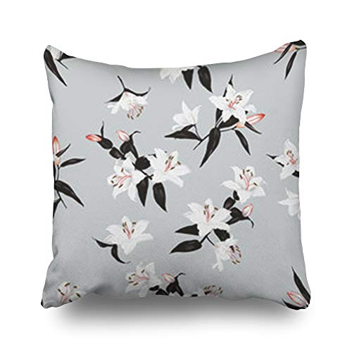 (NOWCustom Throw Pillow Covers Exotic Lilies Grey Print Lily Nature Gradient Color Flower Square Size 20 x 20 inches Decorative Pillow Cases Home Decor Zippered Pillowcase Bedroom Sofa)
