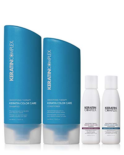 Keratin Color Care Shampoo & Conditioner Duo With Travel Sizes Included by Keratin Complex, 13.5oz & 3oz bottles
