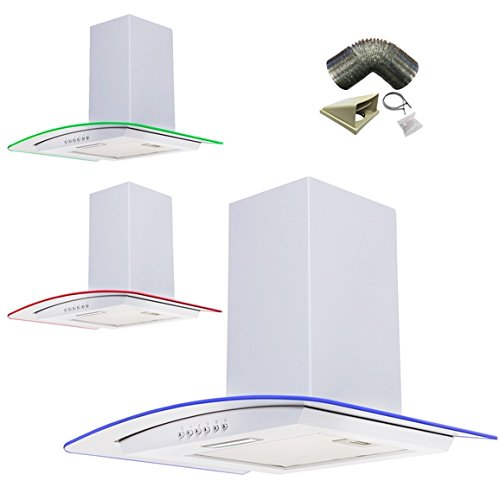 SIA 70cm 3 Colour LED Edge Lit Curved Glass White Cooker Hood + 1m Ducting Kit