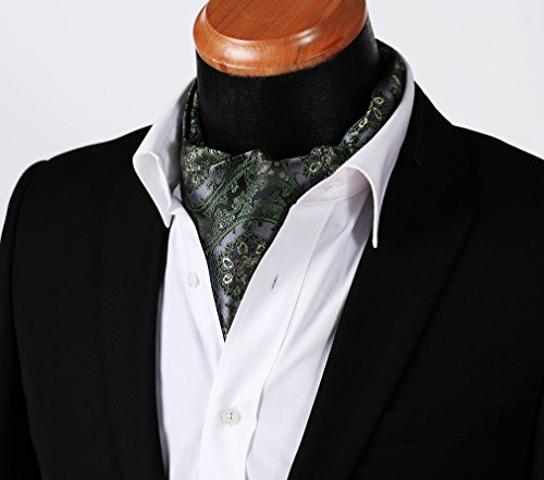 Floral HISDERN Men's Green Gray Set Woven Jacquard Ascot qO1CO
