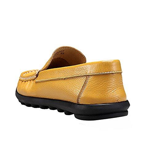 Rismart Heren Slip Op Mocassins Comfortabele Casual Lederen Jurk Loafers Schoenen 8377 (geel, Us10)