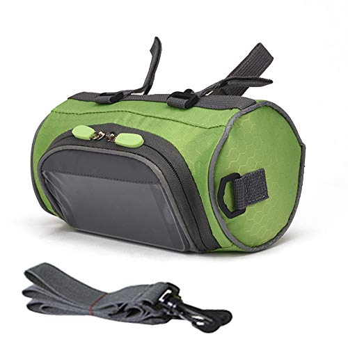 ZUKKA Bike Handlebar Bag,Adjustable and Removable Shoulder Strap Waterproof Bicycle Front Storage Bag with Transparent Pouch Touch Screen, Large-Capacity Cycling Front Pack