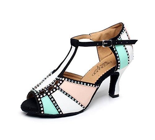 JSHOE Cristaux De Femmes étincelant Satin Latin Salsa Chaussures De Danse Tango/Thé/Samba/Moderne/Jazz Chaussures Sandales Talons Hauts,White-heeled10cm-UK3/EU33/Our34