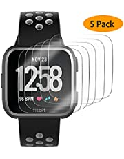 Hianjoo [5-Pack] Screen Protector Compatible with Fit bit Versa/Versa Lite, [3D Curved Full Coverage], Anti-Scratch, Bubble Free, Screen Protector Replacement for Fit bit Versa/Versa Lite