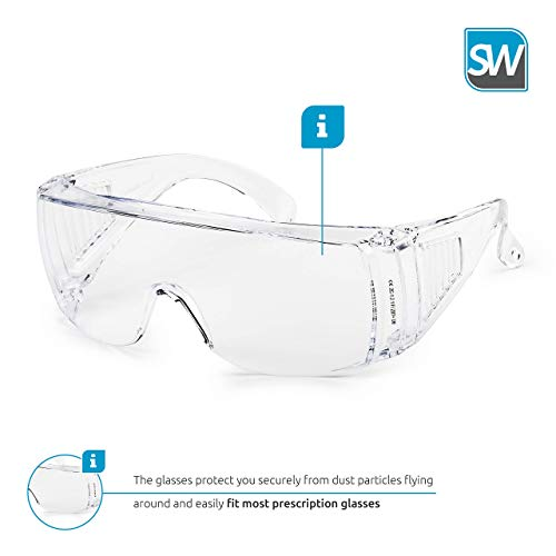 Clear HD Anti Scratch and UV Protection Anti Fog Coated Lenses Safety Glasses Spectacles for Man Women Children Eye Protection Safety Goggles for Kids White