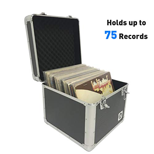 Classic Acts Vinyl Record Album Storage Case - Aluminum Lp Record Player Crates for Records (Holds 75 Records)