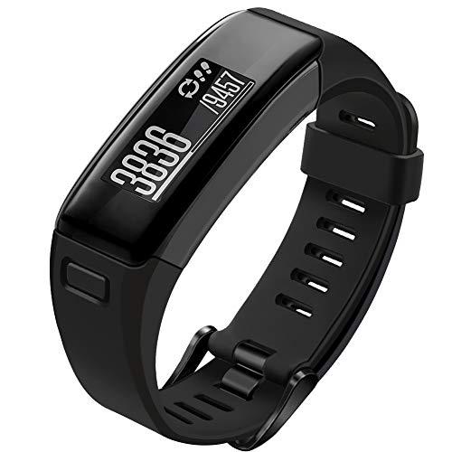 Oenfoto Compatible Garmin Vivosmart HR Replacement Bands, Soft Silicone Bracelet Sport Wristband Strap Accessories with Screwdriver for Garmin Vivosmart HR-Black with Black Button