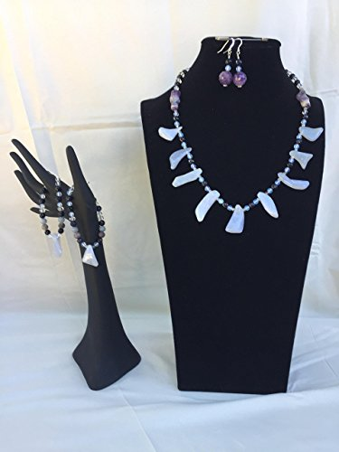 Unique handmade jewelry set with a necklace, two bracelets and matching dangle earrings. Blue Lace Agate, Amethyst and mixed gemstones. One of a kind by The Stonz Project