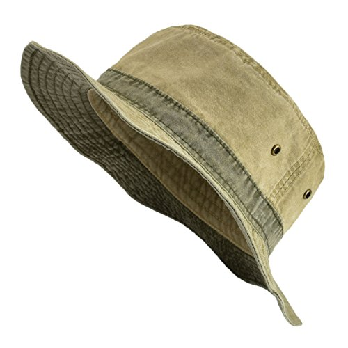 - VOBOOM Men Washed Cotton Panama Bucket Hat Packable Summer Travel Fishing Boonie Cap Khaki