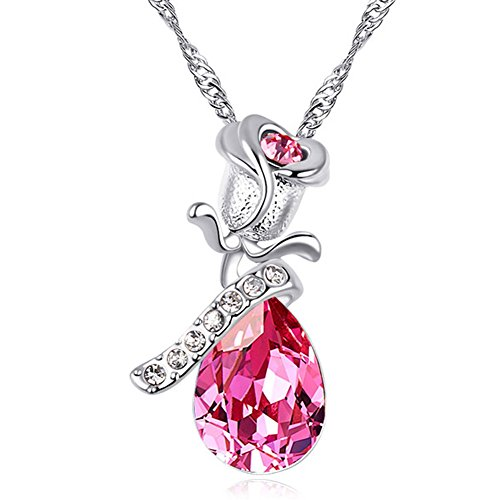 Sojewe Silver tone Flower Drop Pendant Necklace Pink Swarovski Elements Crystal 18 Chain for Women