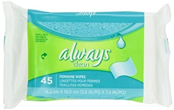 Always Always Wipes Refill Lightly Scented 45 Count (Pack of 12)
