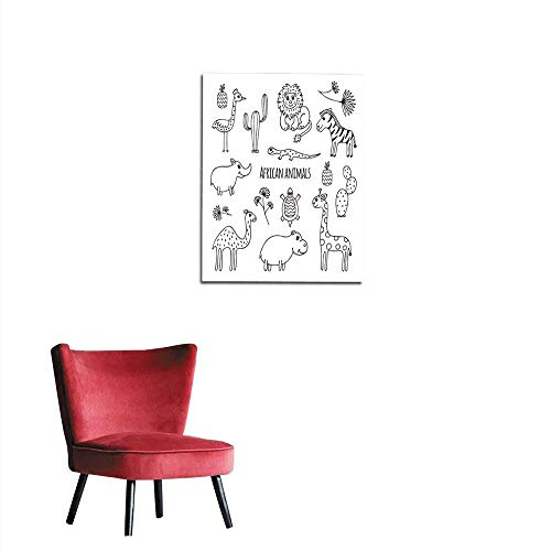 (longbuyer Art Decor Decals Stickers Set of Black and White African Animals Mural 16