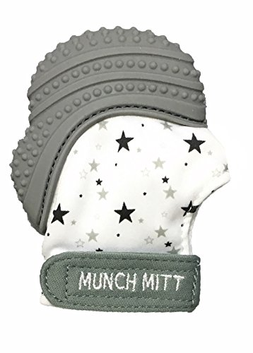 Munch Mitt Pastels Specialty Collection- Original Silicone Teether Mitten- Like Teething Toys or Teething Ring Provides Self-Soothing Fun- Ideal Baby Shower Gift with Handy Travel Bag - Grey Stars