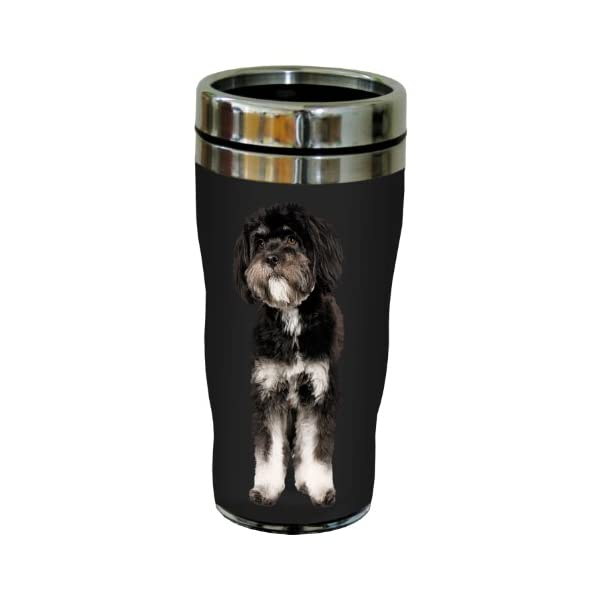 Tree-Free Greetings SG25133 I Heart Tibetan Terriers Sip 'N Go Stainless Lined Travel Tumbler, 16-Ounce, Black and White 2
